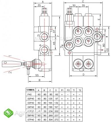 Rozdzielacz hydrauliczny 2 sekcyjny 40L - zdjęcie 1